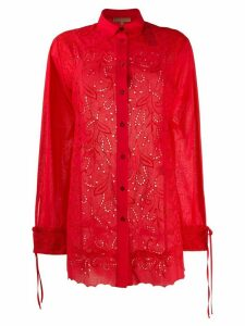 Ermanno Scervino lace and poplin shirt - Red