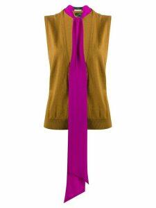 Jejia tied neck sleeveless jumper - Brown