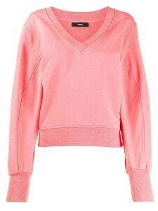 Diesel crossover V-neck sweater - PINK