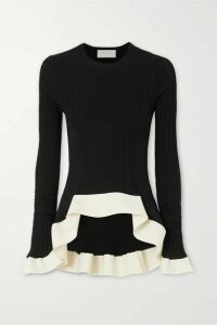 Esteban Cortázar - Asymmetric Ribbed-knit Sweater - Black