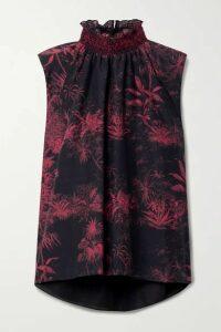 Adam Lippes - Printed Cotton And Silk-blend Poplin Blouse - Black