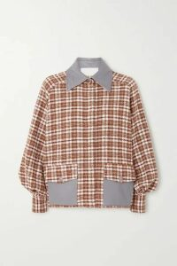 REMAIN Birger Christensen - Beiru Leather-trimmed Checked Cotton-blend Tweed Bomber Jacket - Brick