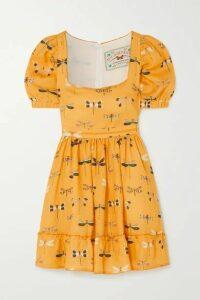 Agua by Agua Bendita - Pomelo Printed Linen Mini Dress - Saffron