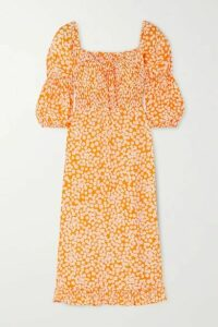 Faithfull The Brand - Nora Shirred Floral-print Crepe Midi Dress - Orange