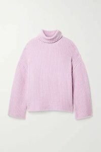Nanushka - Raw Ribbed Wool-blend Turtleneck Sweater - Lilac