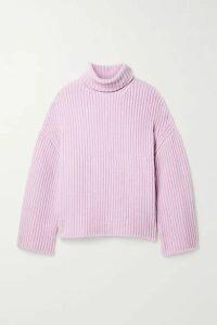 Nanushka - Raw Ribbed Wool-blend Turtleneck Sweater - Lilac