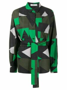 Closed geometric-print belted shirt - Green