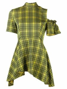 Rokh checked asymmetric blouse - Yellow