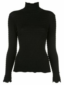Nicholas smocked turtleneck top - Black