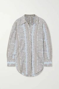 Acne Studios - Metallic Cotton-blend Jacquard Shirt - Light blue