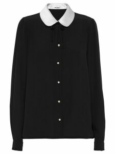Miu Miu silk contrast collar blouse - Black