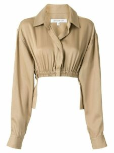 Christopher Esber oversized ruched cropped shirt - Brown