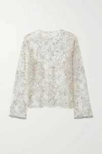 Dries Van Noten - Embellished Tulle Top - Beige
