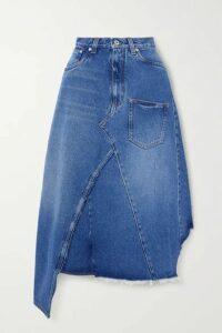 Loewe - Asymmetric Frayed Denim Skirt - Blue