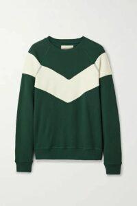 The Great - The Sherpa Fleece-paneled Cotton-jersey Sweatshirt - Green