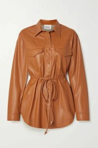 Nanushka - Eddy Belted Vegan Leather Shirt - Camel