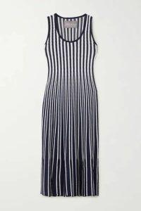 Lela Rose - Tasseled Striped Crochet-knit Midi Dress - Navy