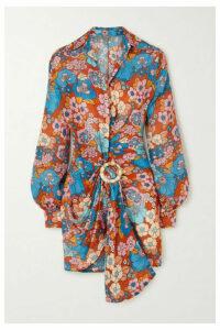 Dodo Bar Or - Lora Embellished Gathered Floral-print Cotton Mini Dress - Brown