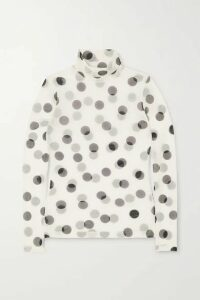 Dries Van Noten - Hotala Polka-dot Stretch-mesh Turtleneck Top - White