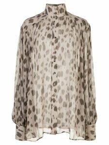 ANINE BING Kacey leopard print blouse - Brown