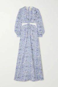 Agua by Agua Bendita - Parana Cutout Floral-print Linen Maxi Dress - Blue