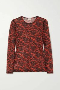 Dries Van Noten - + Christian Lacroix Hostoni Floral-print Stretch-mesh Top - Red