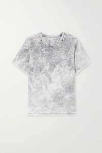 Stella McCartney - Embossed Acid-wash Organic Cotton-jersey T-shirt - Gray