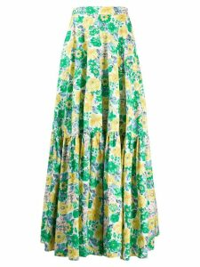 Plan C tiered floral print skirt - Green