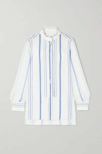 Chloé - Embroidered Striped Cotton-twill And Georgette Shirt - White