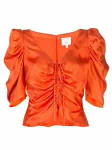 Cinq A Sept Betty ruched satin top - ORANGE