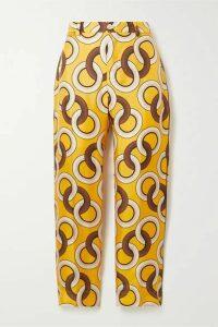 F.R.S For Restless Sleepers - Tartaro Printed Silk-twill Straight-leg Pants - Saffron