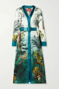 F.R.S For Restless Sleepers - Clizio Belted Printed Silk-satin Midi Dress - Turquoise