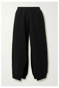 MM6 Maison Margiela - Cropped Cotton-jersey Track Pants - Black