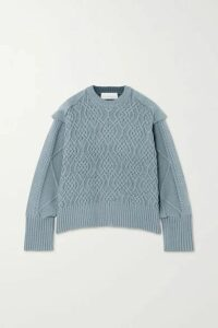 REMAIN Birger Christensen - Diana Cable-knit Cotton-blend Sweater - Blue