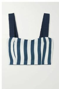 Agua by Agua Bendita - Cacao Cropped Striped Linen Top - Navy