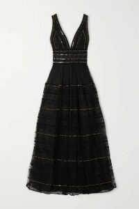 Costarellos - Sequined Embroidered Tulle Gown - Black
