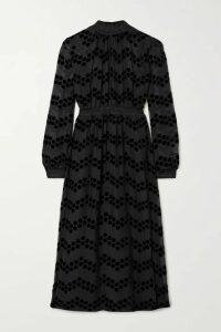 Tory Burch - Polka-dot Flocked Chiffon Midi Dress - Black