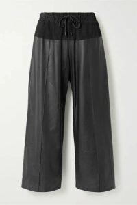 KENZO - Paneled Leather And Nubuck Culottes - Black