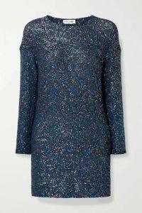 SAINT LAURENT - Sequined Knitted Mini Dress - Cobalt blue