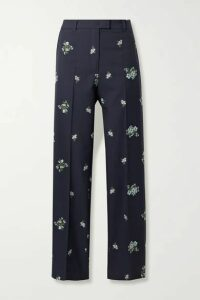 Paul & Joe - Cotton-blend Floral-jacquard Straight-leg Pants - Midnight blue
