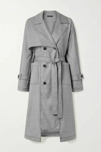 The R Collective - + Net Sustain + Wen Pan Dalston Belted Houndstooth Wool Trench Coat - Black
