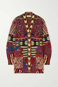Etro - Wool-blend Jacquard-knit Cardigan - Red