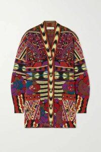 Etro - Wool-blend Jacquard-knit Cardigan - Red