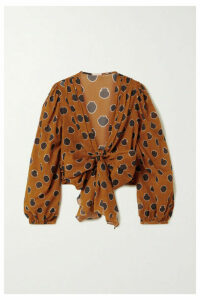 Johanna Ortiz - Pioneer Cropped Tie-front Printed Cotton-voile Blouse - Orange