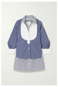 Sacai - Paneled Striped Cotton Poplin Shirt - Blue