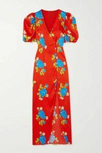 De La Vali - Ohio Floral-print Satin Dress - Red