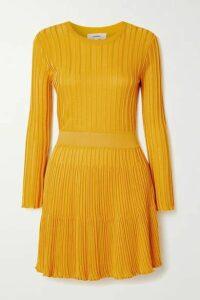 CASASOLA - + Net Sustain Ribbed-knit Mini Dress - Yellow