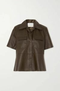 REMAIN Birger Christensen - Siena Leather Shirt - Army green