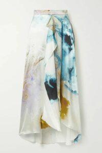 Roksanda - Zinja Asymmetric Draped Printed Silk-satin Skirt - Ivory
