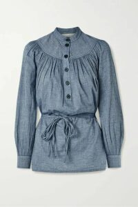 Vanessa Bruno - Noa Belted Gathered Cotton-chambray Blouse - Blue